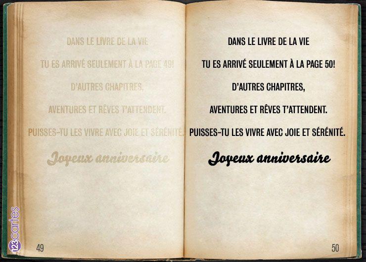 livre de la vie - carte anniversaire 50 ans - 123cartes