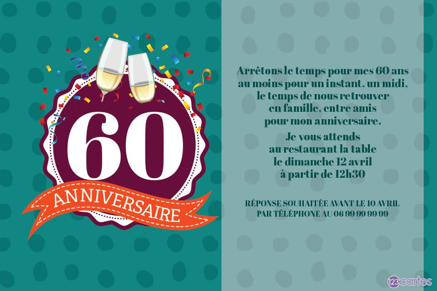Invitation Anniversaire Football 60 Ans 123cartes