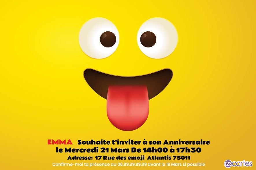 emoji qui tire la langue - invitation anniversaire - 123cartes