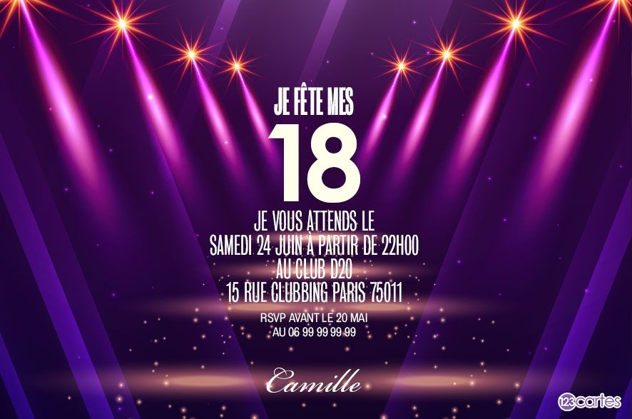 entr e des stars invitation anniversaire 18 ans 123cartes. Black Bedroom Furniture Sets. Home Design Ideas