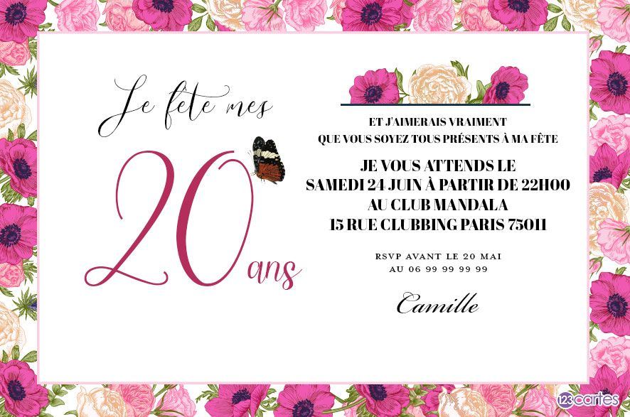 la vie en rose invitation anniversaire 20 ans 123cartes. Black Bedroom Furniture Sets. Home Design Ideas