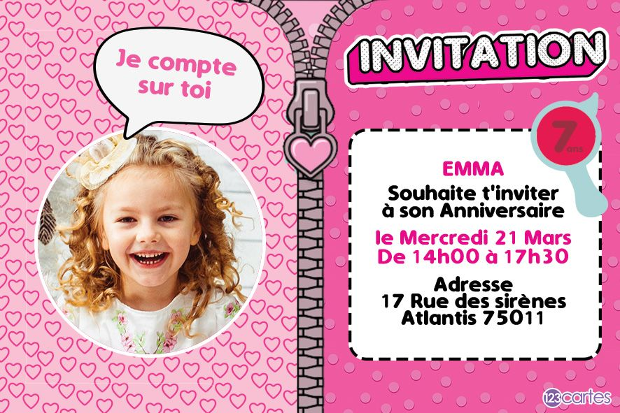 ma surprise - invitation anniversaire filles - 123cartes