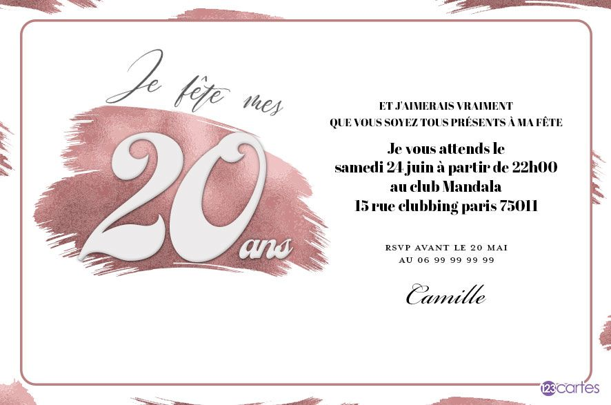 make up invitation anniversaire 20 ans 123cartes. Black Bedroom Furniture Sets. Home Design Ideas