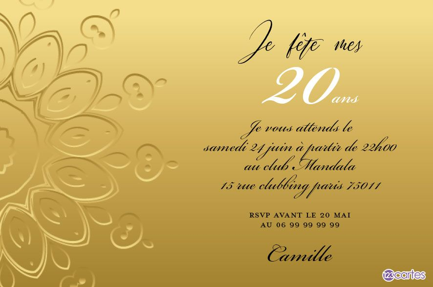 mandala gold invitation anniversaire 20 ans 123cartes. Black Bedroom Furniture Sets. Home Design Ideas