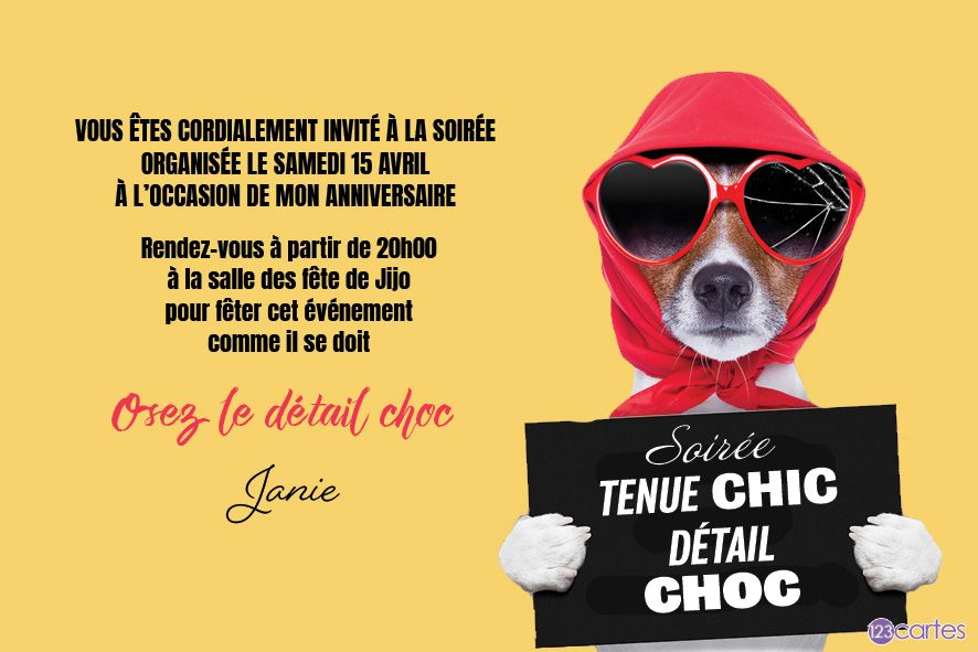En mode incognito - invitation tenue chic détail choc - 123cartes