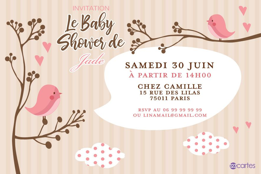 Oiseaux roses - baby shower - 123cartes