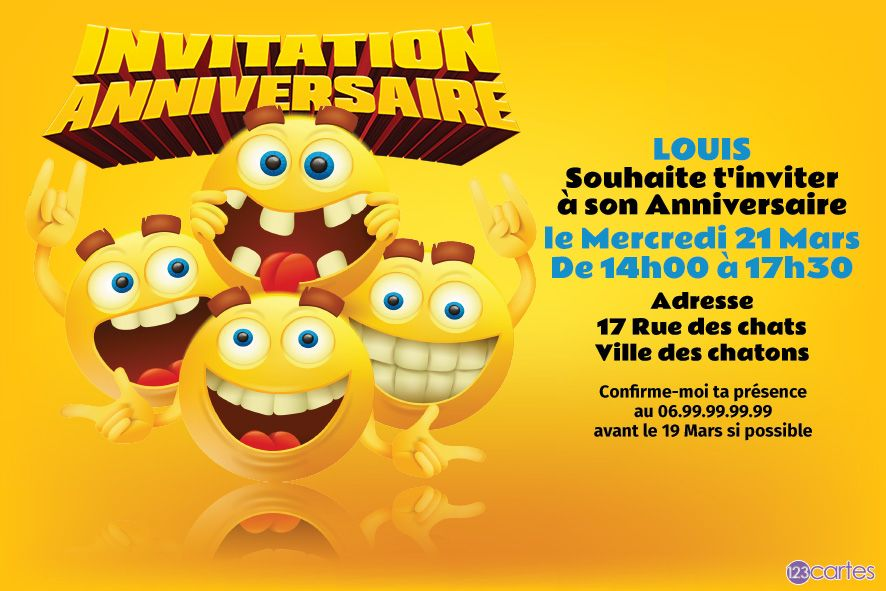 on va faire la fête - invitation anniversaire smiley - 123cartes