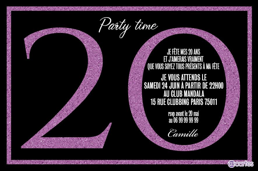 paillettes violettes invitation anniversaire 20 ans. Black Bedroom Furniture Sets. Home Design Ideas