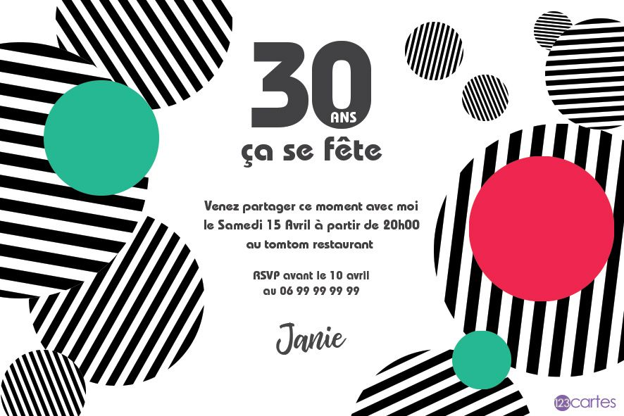 des ronds et des lignes invitation anniversaire 30 ans. Black Bedroom Furniture Sets. Home Design Ideas