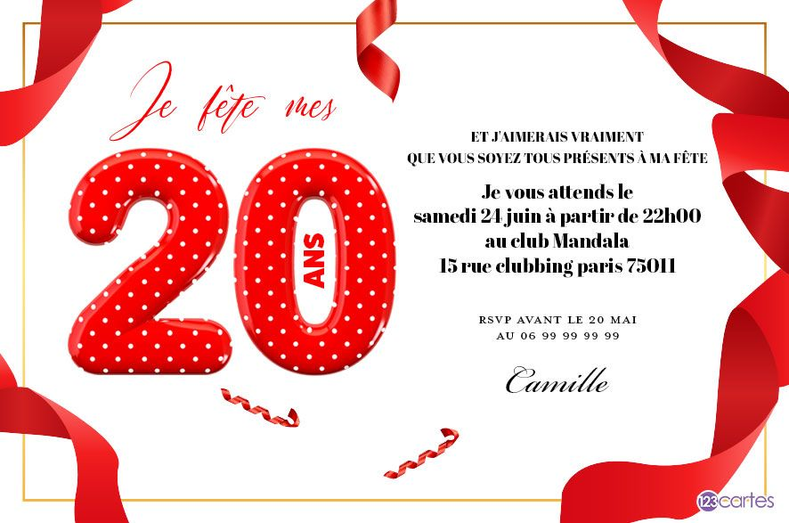 ruban cadeau rouge invitation anniversaire 20 ans 123cartes. Black Bedroom Furniture Sets. Home Design Ideas