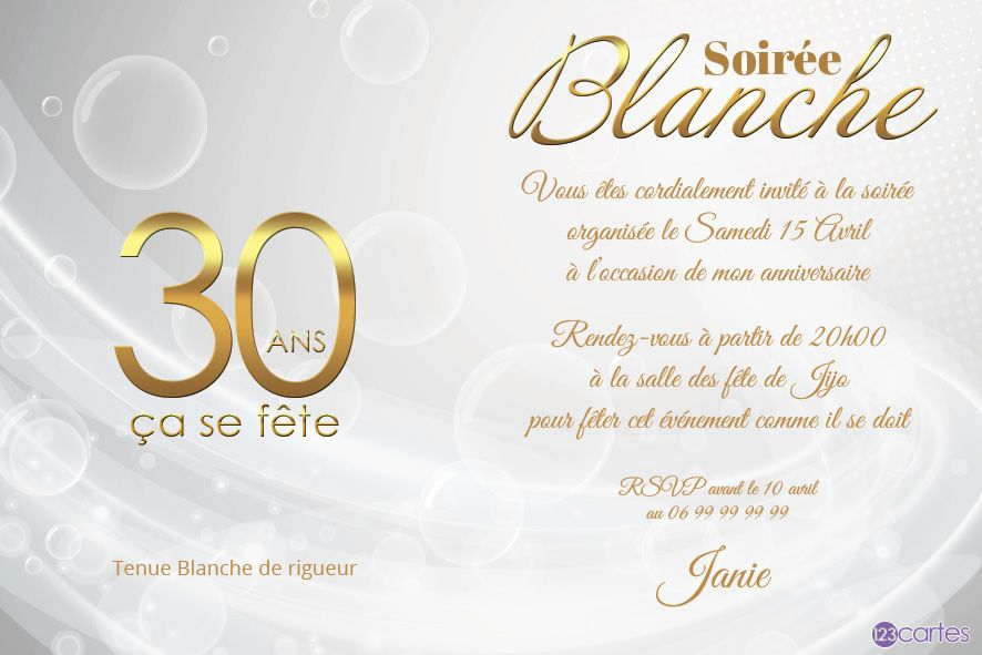 invitation anniversaire 30 ans soir e blanche 123cartes. Black Bedroom Furniture Sets. Home Design Ideas