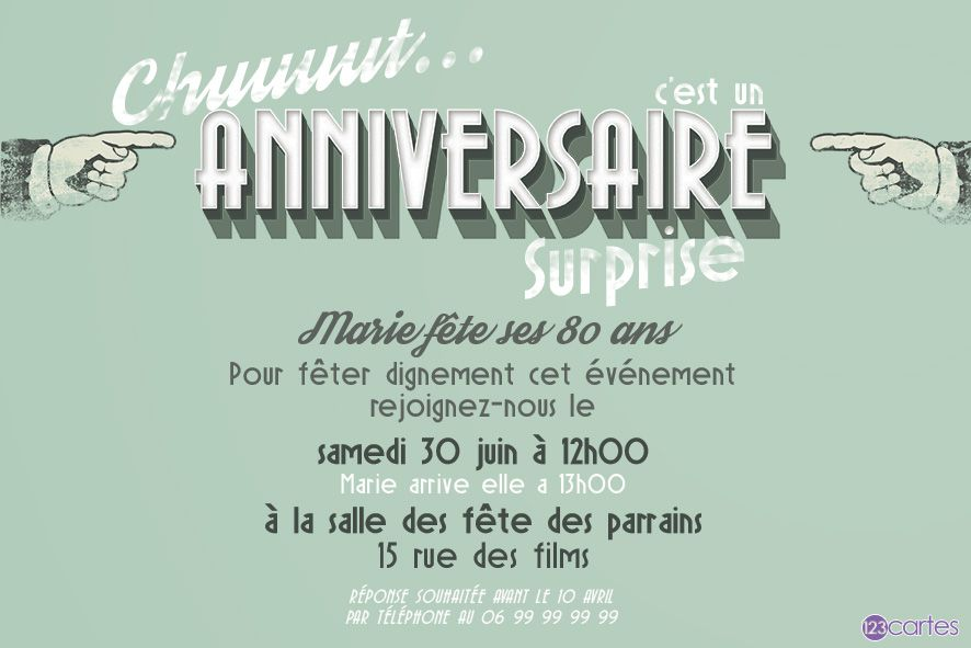 Votre attention svp – invitation anniversaire surprise 80 ans