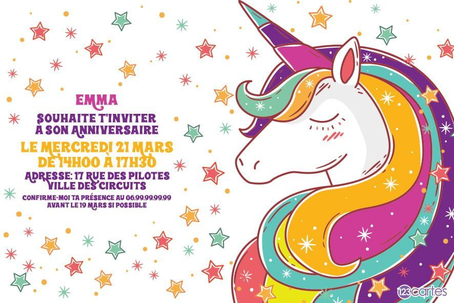 constellation de la licorne - invitation anniversaire - 123cartes