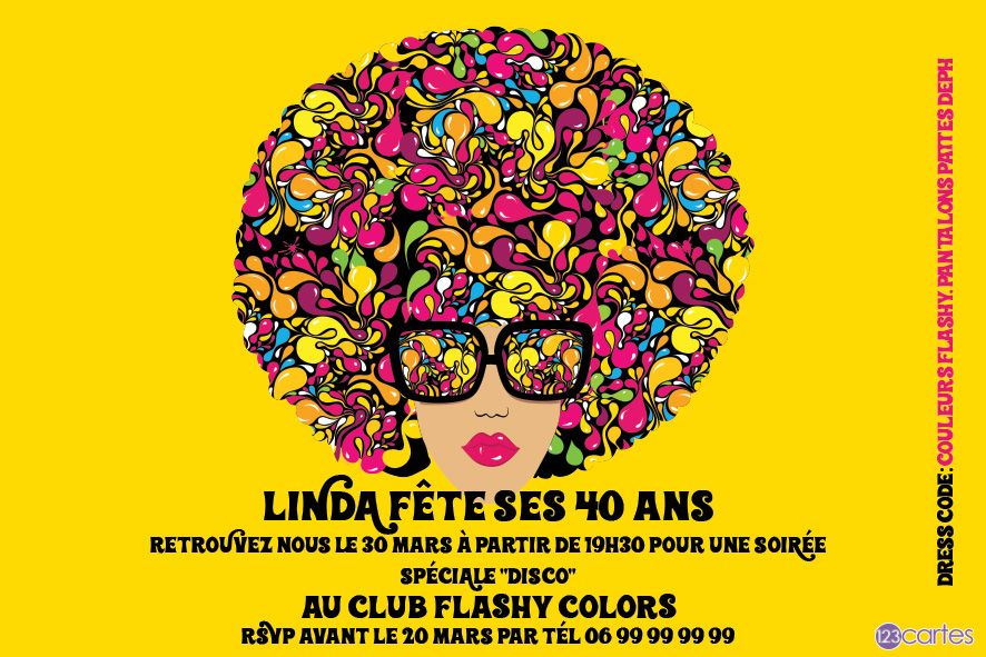disco flashy style - invitation anniversaire - 123cartes