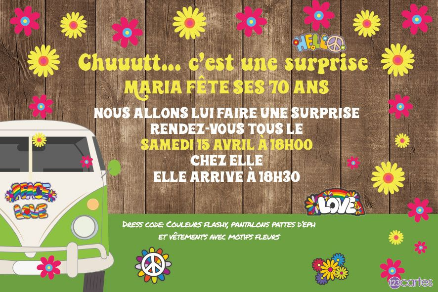 hippie invitation anniversaire adultes - 123cartes