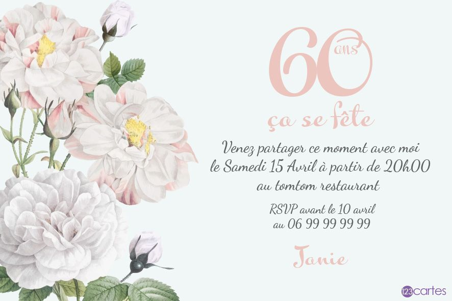 60 ans roses blanches - invitation anniversaire 60 ans - 123cartes