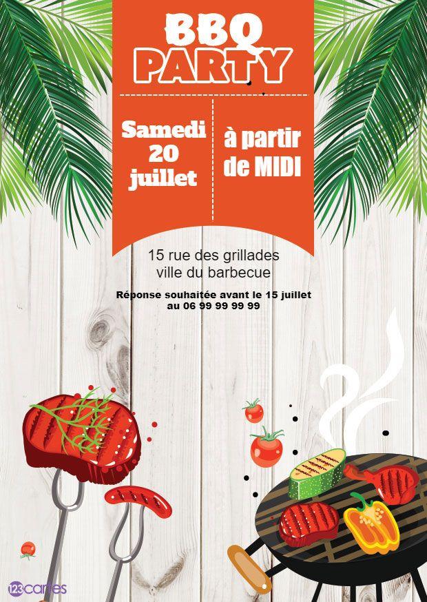 barbecue avec de la viande et des légume dessus dans un décor avec des feuilles de palmier - invitation barbecue