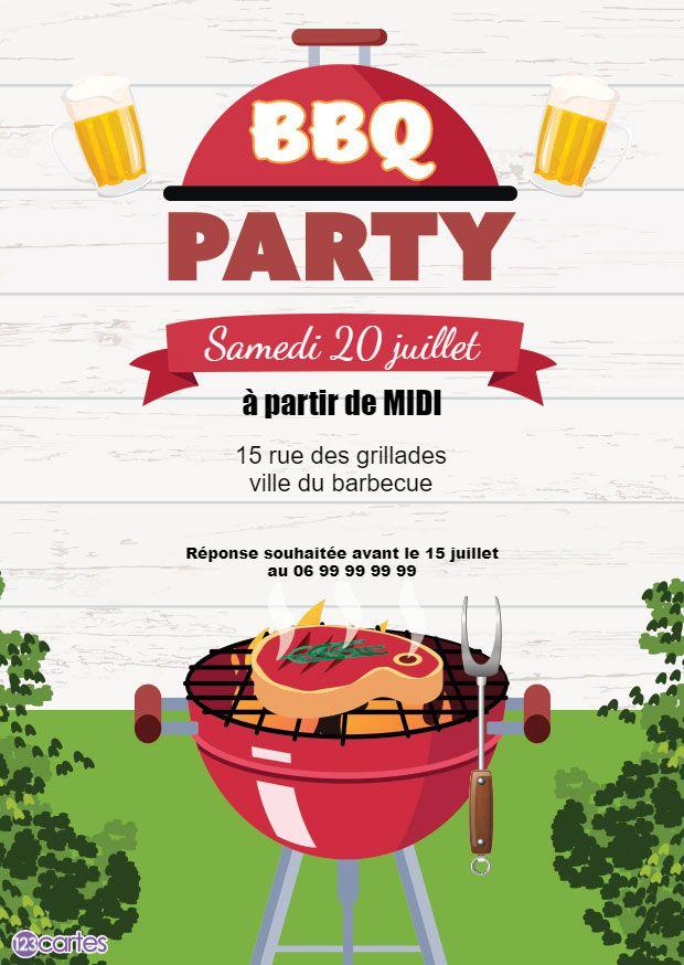 barbecue avec un morceau de viande dessus dans un jardin - invitation anniversaire barbecue