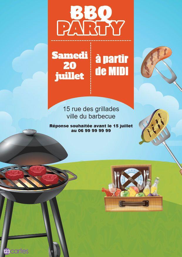 barbecue viande et malette de pique-nique - invitation barbecue