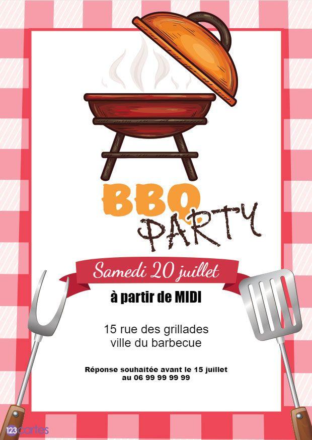 barbecue avec des ustensiles de cuisine sur un fond de nappe de vichy rouge - invitation barbecue