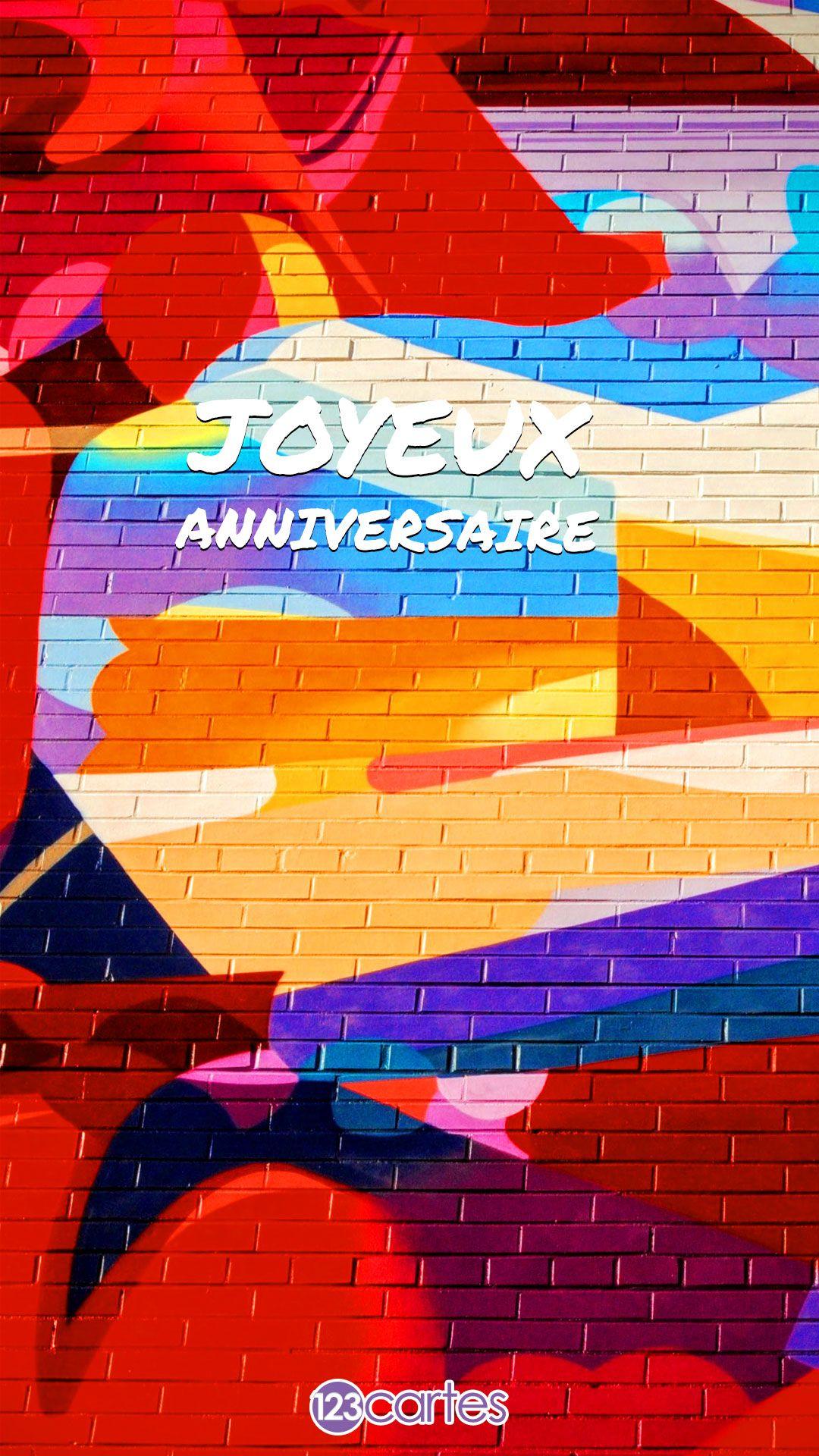 Fresque murale avec le texte joyeux anniversaire