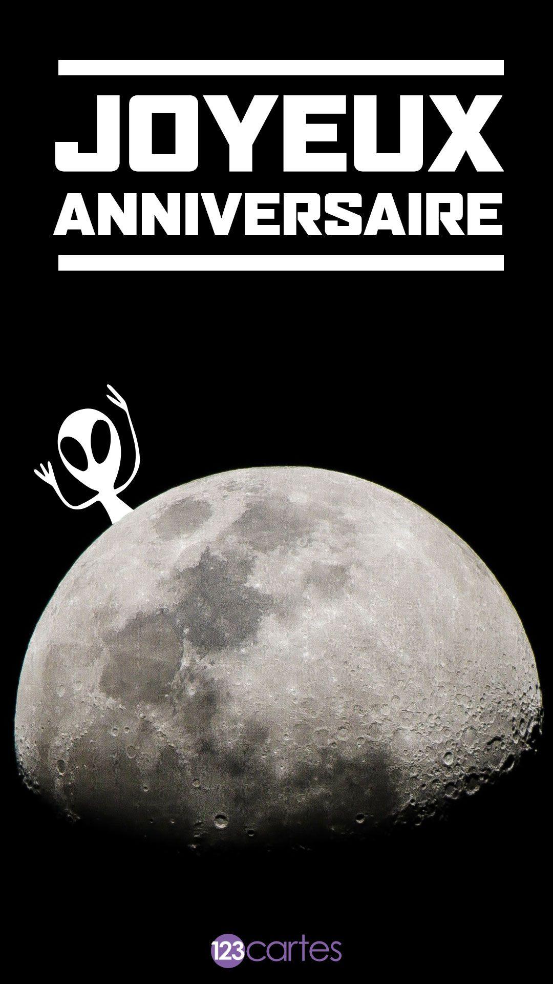 Lune et extraterrestres – carte anniversaire pour smartphone