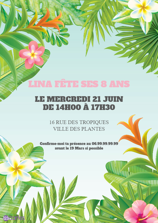 Paradis tropical – Invitation anniversaire