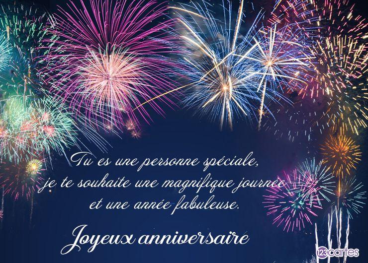 Tu es une personne spéciale, je te souhaite une magnifique journée et une année fabuleuse. Joyeux anniversaire