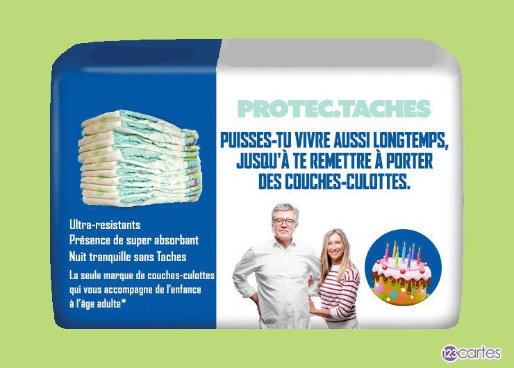 photo montage d'un pack de couche-culotte avec le texte: Puisses-tu vivre aussi longtemps, jusqu'à te remettre à porter des couches-culottes