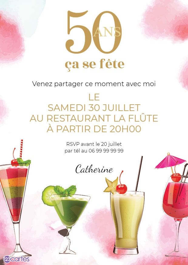Invitations Anniversaire Adultes Gratuits 123cartes