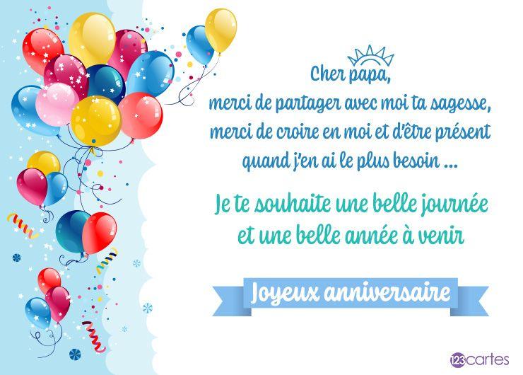 bouquet de ballons multicolores et le texte, cher papa, merci de partager avec moi ta sagesse, merci de croire en moi et d'être présent quand j'en ai le plus besoin... Je te souhaite une belle journée et une belle année à venir, Joyeux anniversaire