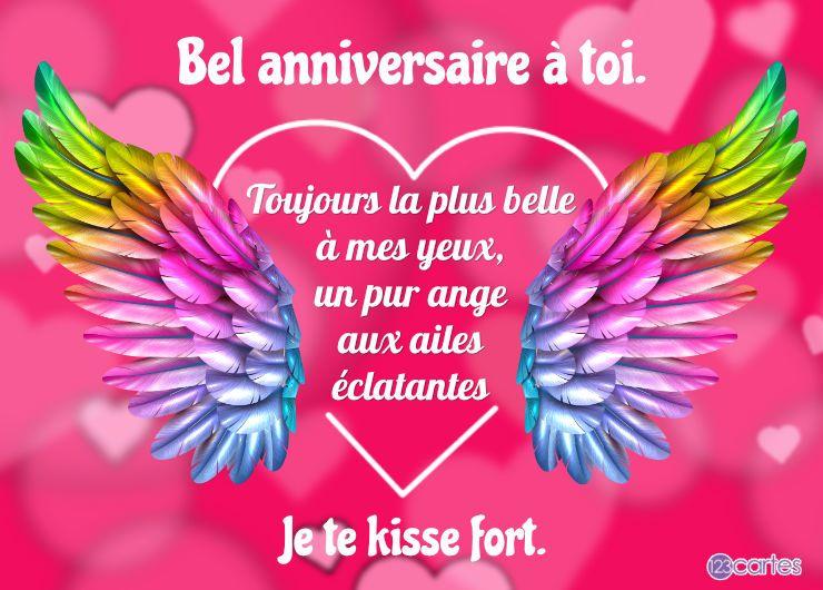 ailes multicolores avec au centre un coeur et un joli texte d'amour pour souhaiter joyeux anniversaire pour ados
