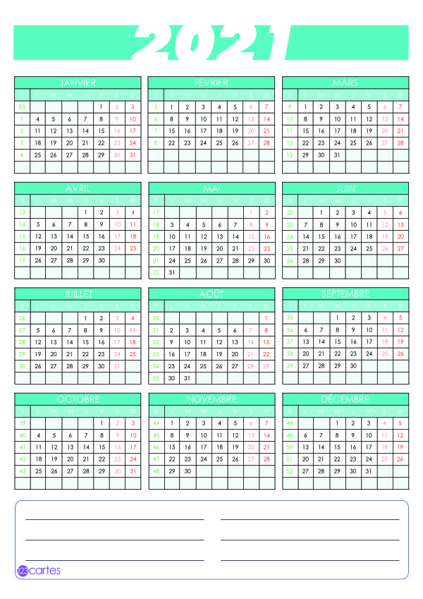 calendrier 2021 vertical couleur turquoise