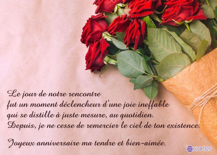 bouquet de roses rouges avec un texte d'amour pour femme