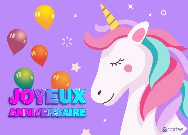 licorne yeux fermés, ballons gonflables et texte joyeux anniversaire multicolore