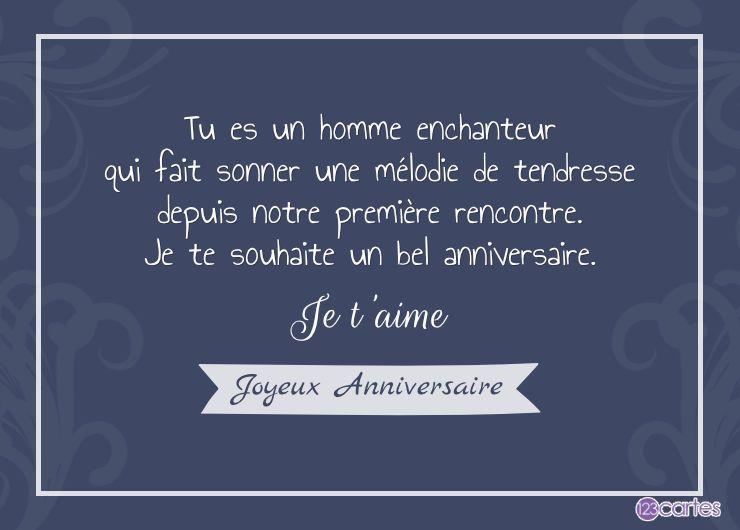 texte d'amour pour souhaiter un joyeux anniversaire à un homme