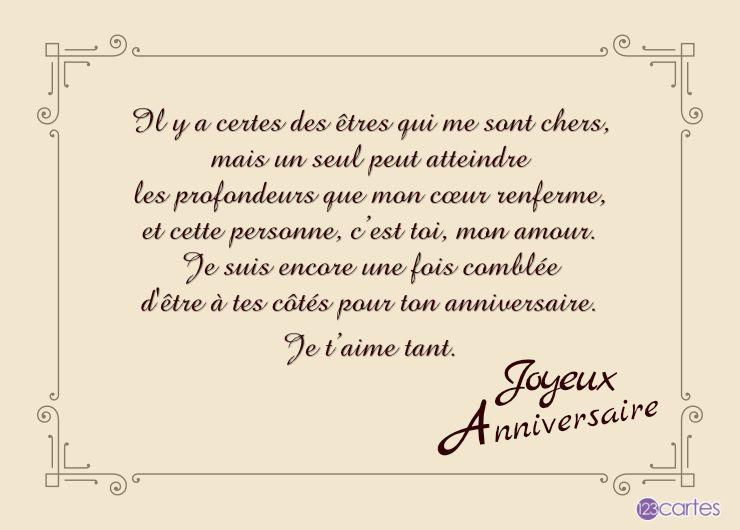 cadre vintage avec beau texte d'amour pour souhaiter un joyeux anniversaire à un homme