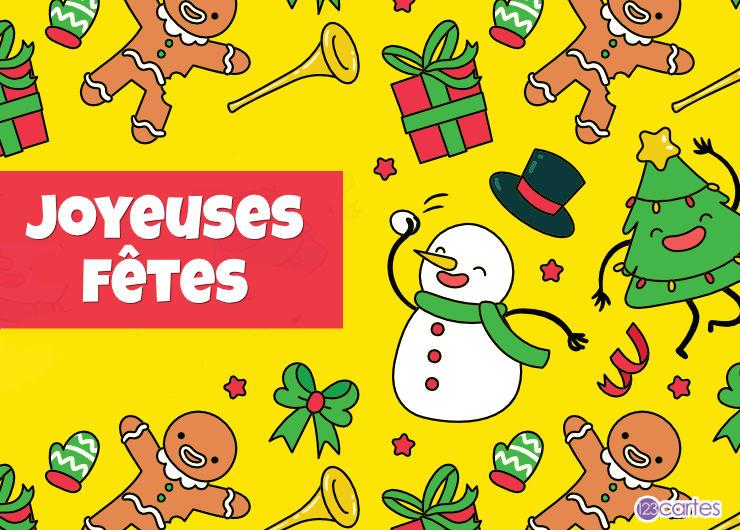 motifs bonhomme de neige, biscuits bonhommes et sapin sur fond jaune - joyeuses fêtes