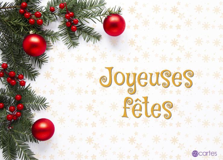 boules rouges branches sapin - carte joyeuses fêtes