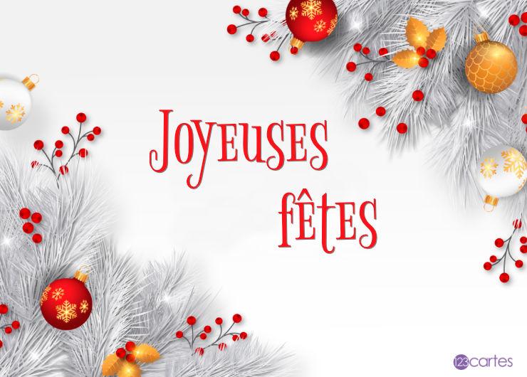 branches blanches boules de décoration et fruits rouges - joyeuses fêtes
