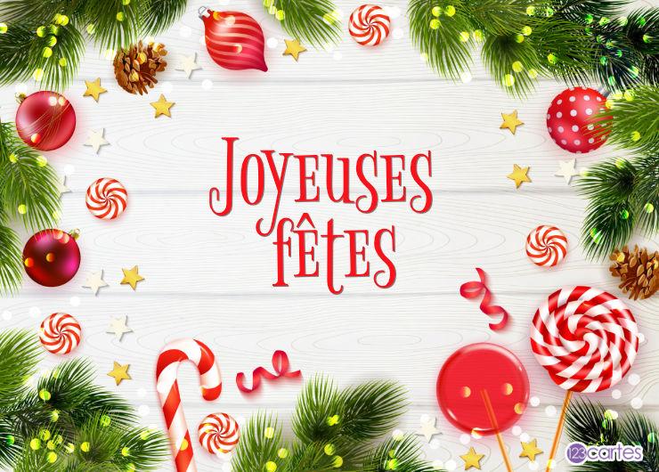 branches sapin boules rouges et friandises - Joyeuses fêtes
