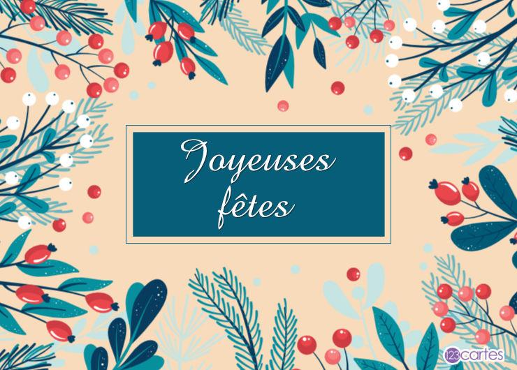 fruits rouges et branches - joyeuses fêtes