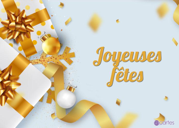 boîtes cadeaux ruban doré et boules de décoration - joyeuses fêtes