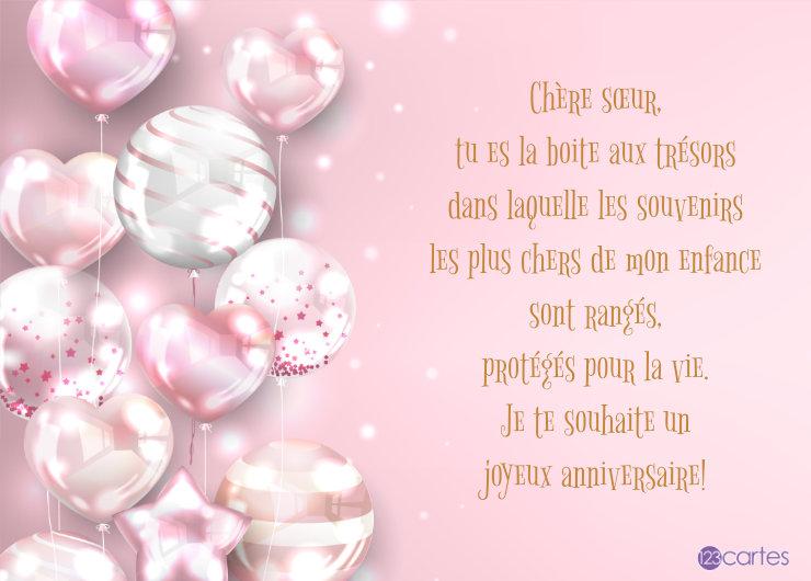 ballons gonflables de différentes formes sur fond rose avec un joli texte pour souhaiter joyeux anniversaire a sa sœur