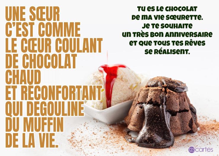 chocolat qui dégouline d'un muffin et boule de glace avec un joli texte pour souhaiter joyeux anniversaire a sa soeur