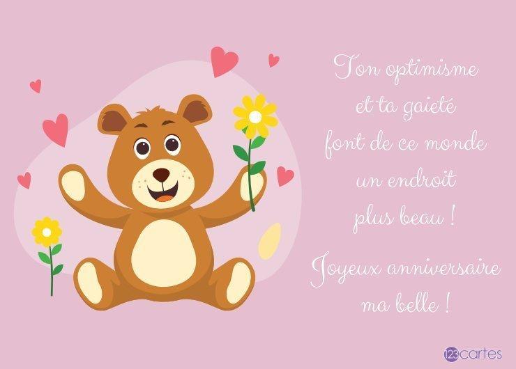 ours en peluche qui tient une fleur jaune et un joli texte pour souhaiter joyeux anniversaire a sa sœur