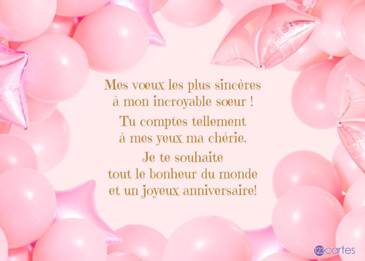 beaucoup de ballons de baudruches de couleur rose au centre un joli texte pour souhaiter joyeux anniversaire a sa soeur