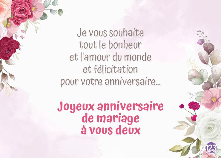 bouquets de fleurs de différents sortes, carte joyeux anniversaire de mariage