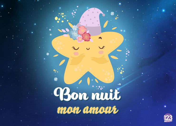 mignonne étoile jaune qui dort et qui porte un bonnet de nuit, bonne nuit mon amour