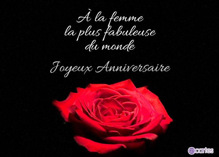 rose rouge sur fond noir avec un joli texte joyeux anniversaire pour femme